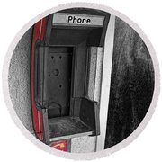 Old Empty Phone Booth Round Beach Towel
