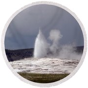 Old Faithful Letting Off Some Steam Round Beach Towel
