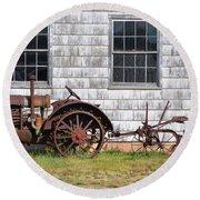 Old Farm Equipment Round Beach Towel