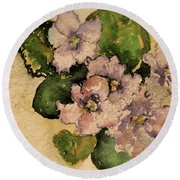 Old-fashioned African Violets Round Beach Towel
