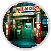 Old Fashioned Filling Station Round Beach Towel