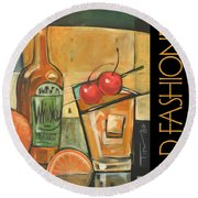 Old Fashioned Poster Round Beach Towel