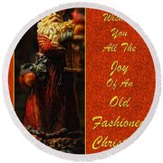 Old Fashioned Santa Christmas Card Round Beach Towel by Lois Bryan