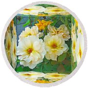 Old Fashioned Yellow Rose - Mirror Box Round Beach Towel