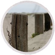 Old Fence Poles Round Beach Towel