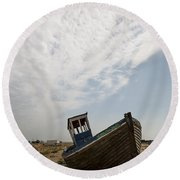 Old Fishing Boats Round Beach Towel