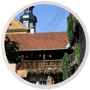 Old Franconian House Round Beach Towel