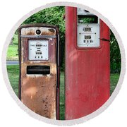 Old Gas Station Pumps Round Beach Towel