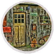 Old General Store Hdr Round Beach Towel