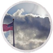 Old Glory In The Wind Round Beach Towel