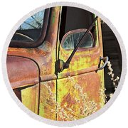 Old Green Truck Door Round Beach Towel