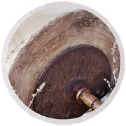 Old Grinding Wheel Round Beach Towel