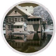 Old Grist Mill In Infrared Round Beach Towel