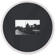 Old Harbor 1880 Round Beach Towel