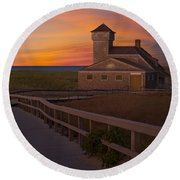 Old Harbor U.s. Life Saving Station Round Beach Towel