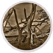 Old Homestead Round Beach Towel by Shane Bechler