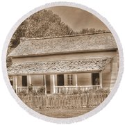 Old House In The Cove Round Beach Towel