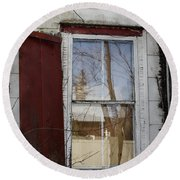 Old House Red Shutter 1 Round Beach Towel