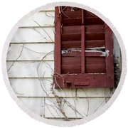 Old House Red Shutter 3 Round Beach Towel
