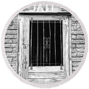 Old Jailhouse Door In Black And White Round Beach Towel