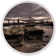 Old Jetty By The Bridge Round Beach Towel
