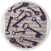Old Keys On Sheet Music Round Beach Towel