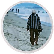 Old Man And The Beach Round Beach Towel
