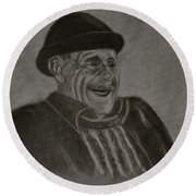 Old Man Laughing Round Beach Towel