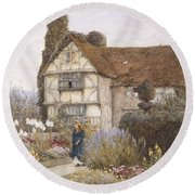 Old Manor House Round Beach Towel by Helen Allingham