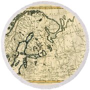 Old Map Of Northern Europe Round Beach Towel
