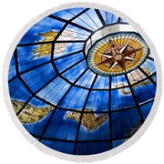 Old Map Of The Canary Islands Round Beach Towel