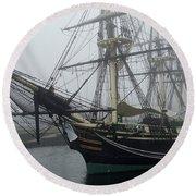 Old Massachusetts Sailing Ship Round Beach Towel