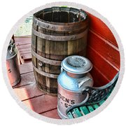 Old Milk Cans And Rain Barrel. Round Beach Towel