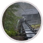 Old Mill In The Smokey Mountains Round Beach Towel