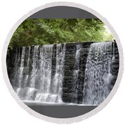 Old Mill Waterfall Round Beach Towel