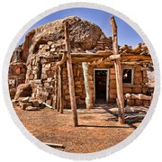 Old Navajo Stone House Round Beach Towel