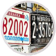 Old Nebraska Plates Round Beach Towel