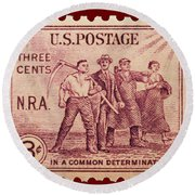 Old Nra Postage Stamp Round Beach Towel