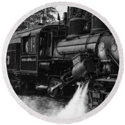 Old Number Three_climax Locomotive_durbin Wv _bw Round Beach Towel