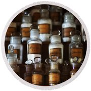 old pharmacy 2 - Old glass bottle with medicine powder of xviii century Round Beach Towel