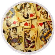 Old Playing Cards Round Beach Towel