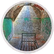 Old Prison Cell Round Beach Towel