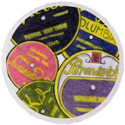 Old Record Labels Round Beach Towel