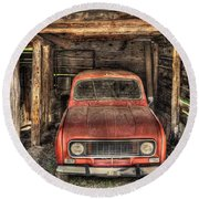 Old Red Car In A Wood Garage Round Beach Towel