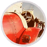 old Red Race Car Round Beach Towel