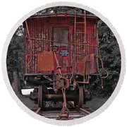 Old Red Train Round Beach Towel