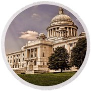 Old Rhode Island State House Round Beach Towel by Lourry Legarde