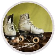 Old Roller-skates Round Beach Towel