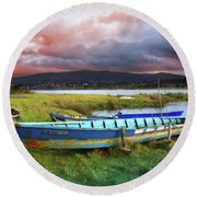 Old Row Boats Round Beach Towel
