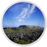 Old Ruins Of A Fort On The Landscape Round Beach Towel